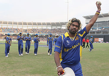 Lasith Malinga of Sri Lanka acknowledges the crowd after taking 6-38 vs Kenya