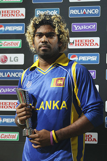 Lasith Malinga of Sri Lanka with the Man of the Match trophy