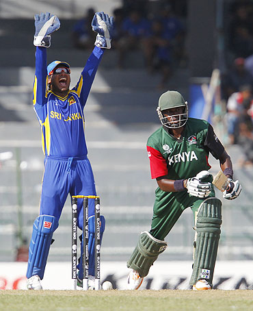 Sri Lanka's wicketkeeper Kumar Sangakkara appeals unsuccessfully for the wicket of Collins Obuya