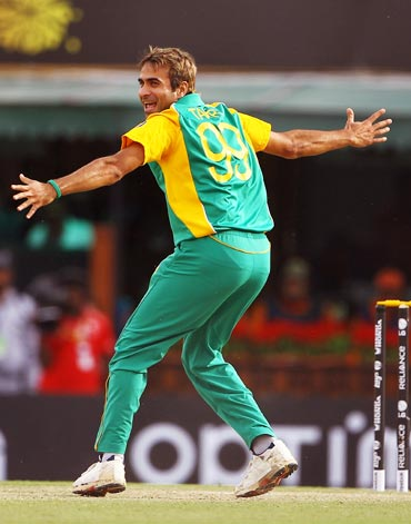 Imran Tahir of South Africa celebrates the wicket of Berend Westdijk of the Netherlands