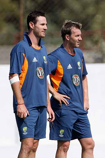 Shaun Tait and Brett Lee during a practice session