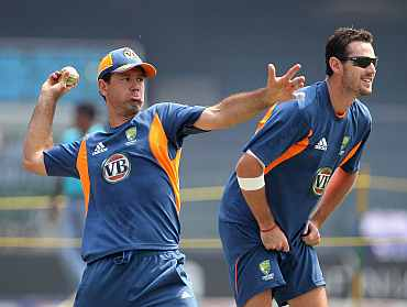 Australia's Ricky Ponting and Shaun Tait during a practice session in Colombo