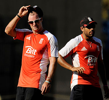 England's captain Andrew Strauss (left) wih teammate Ravi Bopara at a nets session in Chennai on Saturday