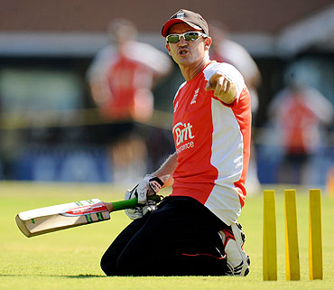 England's coach Andy Flower during a training session