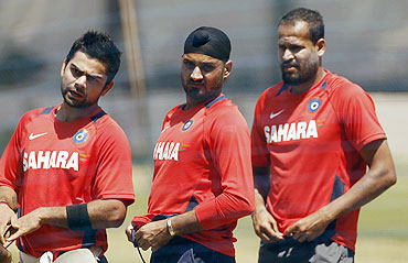 India's (left to right) Virat Kohli, Harbhajan Singh and Yusuf Pathan during a practice session in Bangalore on Saturday