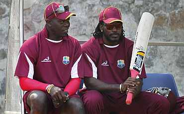 Ottis Gibson and Chris Gayle