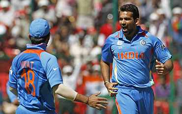 Zaheer Khan celebrates after picking a wicket
