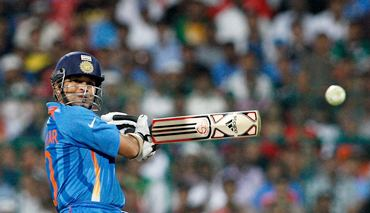 Tendulkar steps out and cuts