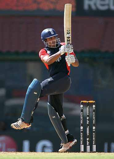 Ravi Bopara plays a shot on the leg-side during his match against South Africa