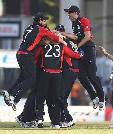 England players celebrate after winning their match against England in Chennai