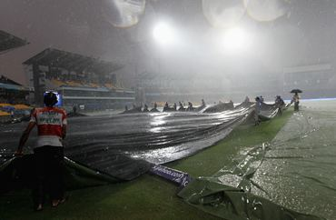 Wet conditions at the Premadasa stadium