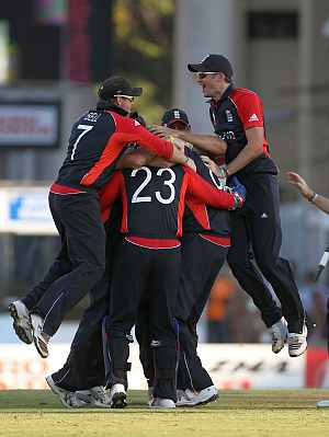 England team celebrates after winning the ODI