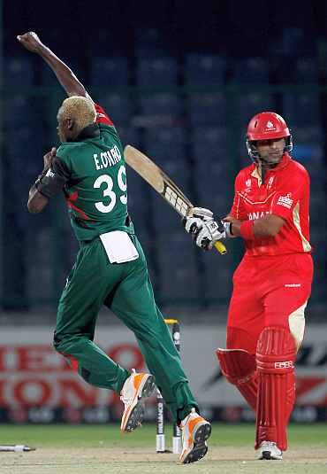 Canada's Rizwan Cheema is bowled by Elijah Otieno of Kenya during their World Cup match