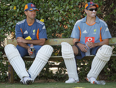 Ricky Ponting with Michael Hussey
