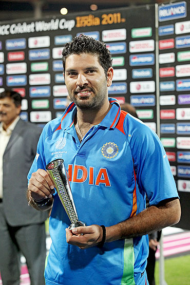 Yuvraj Singh with his Man of the Match trophy