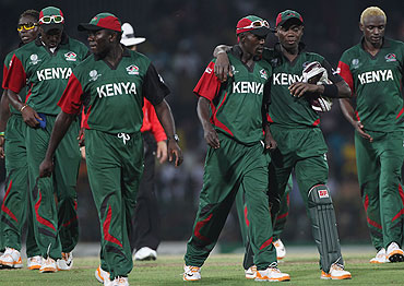 Kenya captain Jimmy Kamande (3rd from right) with teammates