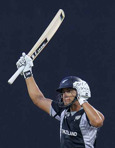 Ross Taylor celebrates after reaching his century against Pakistan