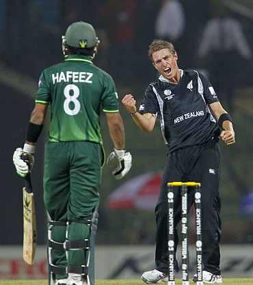 New Zealand's Tim Southee celebrates after picking up the wicket Mohammad Hafeez