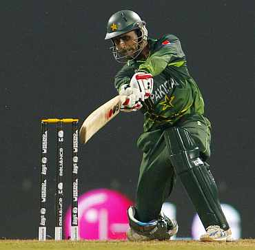 Pakistan's Abdul Razzaq plays a cover drive during his match against New Zealand