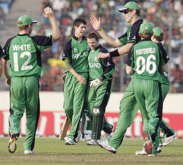 Ireland's George Dockrell (2nd from left) celebrates with his teammates