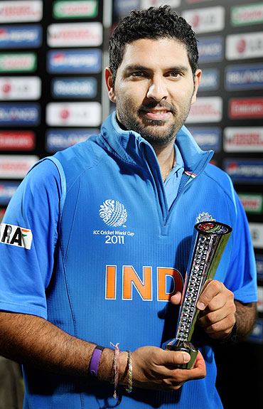 Yuvraj Singh with his Man of the Match award