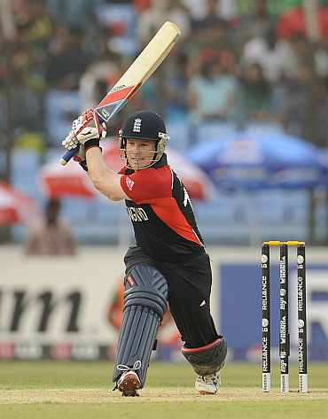 England's Eoin Morgan plays a shot during his match against Bangladesh