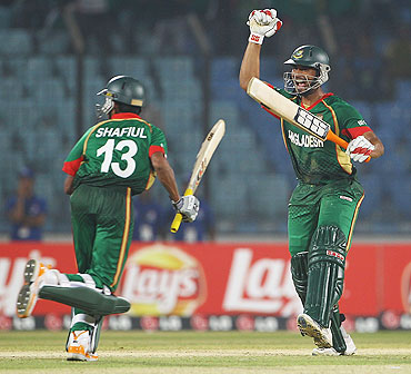 Mahmudullah of Bangladesh celebrates after hitting the winning runs