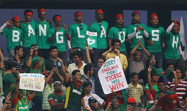 Bangladesh fans cheer the team