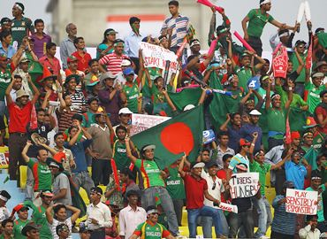 Bangladesh supporters celebrate in the stands