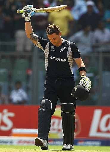 Brendon McCullum reacts after reaching his century in World Cup