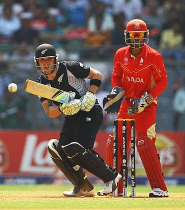 Brendon McCullum plays a shot during his innings