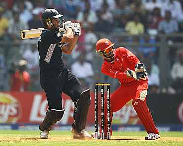 Ross Taylor plays a shot during his knock against Canada