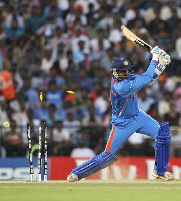 Harbhajan Singh is clean bowled