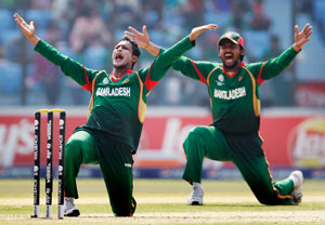 Shakib al Hassan celebrates after a wicket