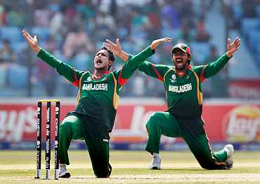 Bangladesh skipper Shakib Al Hassan appeals for a wicket during his match against the Netherlands