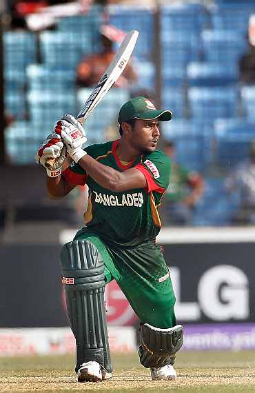 Imrul Kayes plays a hot on the off side during his knock against Netherlands