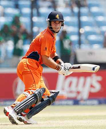 Ryan ten Doeschate plays a shot during his knock against Bangladesh