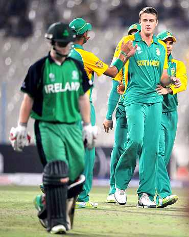South Africa's Morne Morkel celebrates after picking up a wicket during his match against Ireland