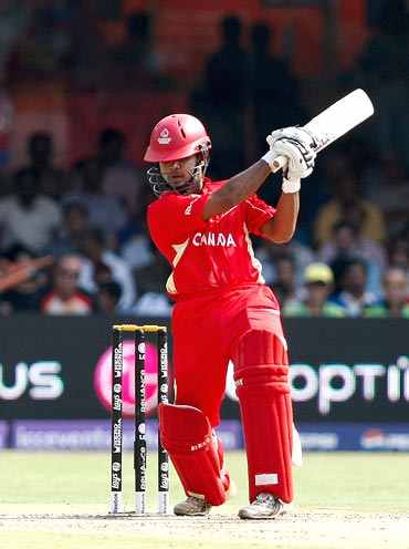 Canada's Hiral Patel plays a shot during his knock against Australia