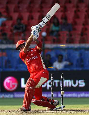 Zubin Surkari of Canada is bowled by Shaun Tait of Australia