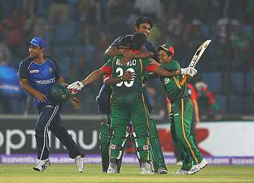 Bangladesh team celebrates after winning a match