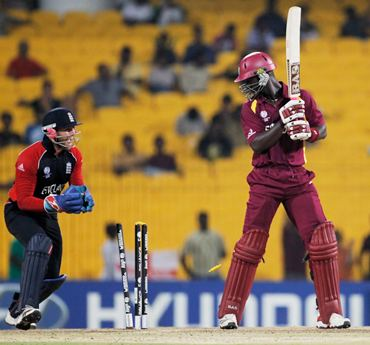 Darren Sammy of West Indies looks back at his stumps after being bowled by Bopara