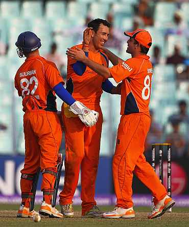 The Netherland players react after picking up a wicket