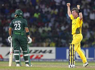 Brett Lee celebrates after dismissing Kamran Akmal