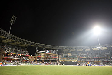 A floodlight fails at the Wankhede Stadium during the match between New Zealand and Sri Lanka on Friday