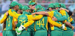 The South African team in a huddle