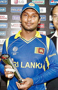 Kumar Sangakkara with the Man of the Match award