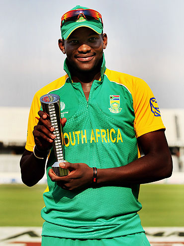 Lonwabo Tsotsobe of South Africa with the Man-of-the-Match trophy