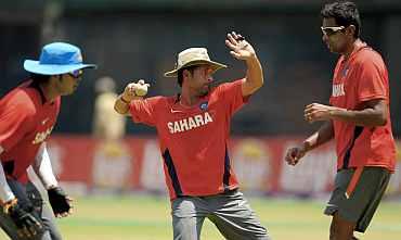 Sachin Tendulkar during a training session in Chennai