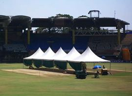 Five canopies cover the pitch at the Chidambaran stadium